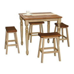 Winners Only - Quails Run 5-Pc Pub Dining Set in Almond and - Includes counter height table and four counter stools. Saddle stools. Minimal assembly required. Counter stool: 17.5 in. W x 13.5 in. D x 24 in. H. Table: 36 in. W x 36 in. D x 36 in. H