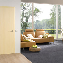 "Laminated Doors - ""Maple"" - ""Maple"" is a cool colored laminate resembling real wood.  Laminate doors are a terrific alternative to real wood or wood veneer which are easy to clean, scratch resistant, durable and best of all affordable.  All Bartels laminated door products are provided as complete door systems including jamb and casing, door panel and all necessary hardware.  Laminated panels may also be ordered as  pocket doors or slabs only for use with sliding systems and Modern Barn Door Hardware."