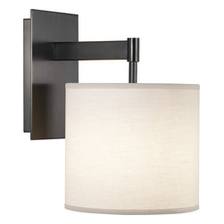 Robert Abbey - Echo Wall Sconce, Deep Patina Bronze - Simple and sleek, this sconce features a fabric shade extending from its clean metal base. Filled with contemporary style, its versatile design will infuse modern character into your space.