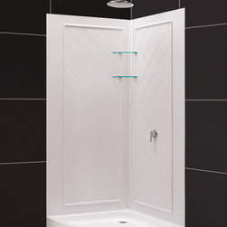 "DreamLine - DreamLine SlimLine 38"" by 38"" Quarter Round Shower Tray and QWALL-4 - DreamLine combines a SlimLine shower base with coordinating shower backwall panels to create a convenient kit that can transform a shower space. The SlimLine shower base incorporates a low profile design for a sleek modern look. The wall panels have a tile pattern and are easy to install with a trim-to-size fit. Both the shower panels and shower base are made from durable and attractive Acrylic/ABS advanced materials. DreamLine kits offer an ideal solution for any bathroom renovation project. Items included: 38 in. x 38 in. Quarter Round Shower Tray and QWALL-4 Shower Backwall KitOverall kit dimensions: 38 in. D x 38 in. W x 76 3/4 in. H38 in. x 38 in. Quarter Round Shower Tray:,  High quality scratch and stain resistant acrylic,  Slip-resistant textured floor for safe showering,  Integrated tile flange for easy installation and waterproofing,  Fiberglass reinforcement for durability,  cUPC certified,  Drain not includedQWALL-4 Shower Backwall Kit:,  Color: White,  Assembly required,  Designed to be installed over existing finished surface (not directly against studs),  Includes 2 glass corner shelves,  Attractive tile pattern,  Unique water tight connection of panels ,  Durable acrylic/ABS construction,  Trim-to-Size design for shower enclosures w/ wall dimensions 30 in. to 40 in. from corner,  Must be trimmed during installation Product Warranty:,  Shower Base: Limited lifetime manufacturer warranty,  Shower Backwalls: Limited 1 (one) year manufacturer warranty"