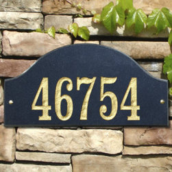 "Grandin Road - Ridgecrest Arch Outdoor Plaque - Grandin Road - This solid granite Ridgecrest Arch Outdoor Plaque features deeply engraved numbers with 5 styles to choose from and can be personalized with one or two lines. Made with solid granite for all-weather durability, this outdoor address plaque is a perfect accessory to your home. One-line style features 4"" numbers; two-line style has 3"" numbers and 1-1/4"" letters."