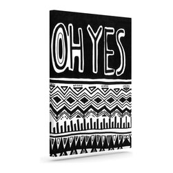 """Kess InHouse - Vasare Nar """"Oh Yes"""" Black White Wrapped Art Canvas (8"""" x 10"""") - Bring your outdoor patio to life with this artistic outdoor canvas wrap featuring gorgeous artwork by KESS InHouse. These canvases are not only easy to hang and remove but also are the perfect addition to your patio collection. These canvases are stretched around a wooden frame and are built to withstand the elements and still look artistically fabulous. Decorating your patio and walls with these prints will add the splash of art and color that is needed to bring your patio collection together! With so many size options and artwork to choose from, there is no way to go wrong with these KESS Canvas Wraps!"""