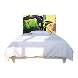 NOYO - Propeller Green Headboard, Full - Chart a course for slumber with a totally new idea in headboard decor. A cedar frame takes a machine washable slipcover you can change according to whim. Tonight, an old-school prop plane; next week, whatever you dare to dream of.