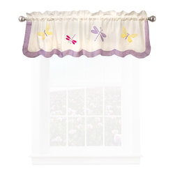 Pem America - Dragonfly Butterfly Valance - Butterflies and dragonflies dance across the face of this quilt with a light green frame drop.  The face material is a stark white with applique butterflies in purple, yellow and hot pink.  The frame is a lime green print with a scalloped edge. Valance measures 18 inches high by 70 inches wide with 3 inch rod pocket. 100% cotton, pieced materials. Machine wash cold/gentle, do not bleach, tumble dry low.