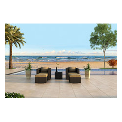 Urbana 3-Piece Patio Club Chair Set, Beige Cushions