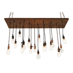 Urban Chandy - Vintage Barn Wood Chandelier - A remarkable combination of retro and modern, this hanging light fixture has a base made from salvaged walnut barn wood and sports a variety of vintage-style bulb pendants. It's as unique as you are.