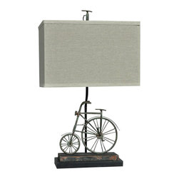 """Lamps Plus - Rustic - Lodge Crestview Collection Big Wheel Rust Blue Table Lamp - This charming Olde-Time bicycle theme blue rust table lamp will win you over with its delightful details. A rectangular natural linen shade completes the alluring traditional look. Revitalize your home decor with this wonderful piece from Crestview Collection lighting. Old-fashioned bicycle theme metal table lamp. Blue rust finish. Metal and resin construction. Rectangular natural linen shade. Spoke fender and chain details. Takes one 150 watt 3-way bulb (not included). Shade is 15"""" wide 10 1/2"""" deep and 10"""" high. 24"""" high.    Old-fashioned bicycle theme metal table lamp.  Blue rust finish.  Metal and resin construction.  Rectangular natural linen shade.  Spoke fender and chain details.  Takes one 150 watt 3-way bulb (not included).  Shade is 15"""" wide 10 1/2"""" deep and 10"""" high.  24"""" high."""