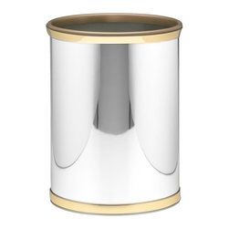 Kraftware - Mylar Wastebasket in Polished Chrome and Brass - 0.75 in. band in brass with gold bumper. Made in USA. 10 in. Dia. x 12 in. H (1.5 lbs.)Kraftware's Mylars bring the look of metal at vinyl prices. Great value, great looks and great entertaining sum up the Mylar collection.