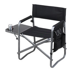 "Picnic at Ascot - Director's Chair with Side Table, Black - The Ascot folding directors chair is lightweight and portable, constructed with a durable aluminum frame with an attractive matt grey finish. It features a fold-out side table with drink holder, a perfect place for resting plates of food, snacks, etc. and includes a removable shoulder strap (plus hand grips) to make carrying easy. The seat is a comfortable 20.5"" wide with padded armrests, back, and seat. The backrest is angled for optimal comfort while relaxing on the beach, sitting around a campfire, watching a concert, etc.  The multi  pocket organizer is very useful and includes a bottle sized pocket and zip closed pocket for valuables.  Maximum weight capacity for the chair is 275 lbs. Constructed with heavy duty canvas to provide years of service. This chair is a great gift for any outdoor or sports enthusiast. Lifetime Warranty."