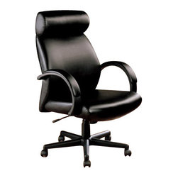"Coaster - Office Chair (Black) By Coaster - Black faux leather upholstery. High back. Padded arms and headrest. Pneumatic seat height adjustment. Adjustable height gas lift. Casters below black base for easy mobility. 25.5 "" W x 30.25 "" D x 44 "" - 48 "" H.  This cool executive chair will add both style and comfort to your home office. Create a slick and stylish home office with this gorgeous contemporary executive office chair."