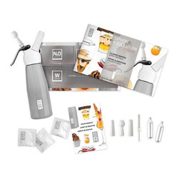 Kitchen Gastronomy Deluxe Whipper Kit - Whip up something unusual with the all-temperatures possibilities of this culinary whipper. This deluxe kit includes three different nozzles, a booklet of molecular gastronomy recipes, and samples of the key food additives and nitrous oxide canisters needed to achieve the striking new tastes and textures in your kitchen.