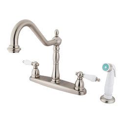 "Kingston Brass - 8"" Center Kitchen Faucet with Non-Metallic Sprayer - VIctorian style Two Handle Deck Mount, Widespread 4 hole Sink application, Non-Metallic (ABS) Side Spray, Fabricated from solid brass material for durability and reliability, Premium color finish resist tarnishing and corrosion, 360 degree turn swivel spout, 1/4 turn On/Off water control mechanism, 1/2"" - 14 NPS male threaded inlets, Duraseal washerless valve, 2.2 GPM (8.3 LPM) Max at 60 PSI, Integrated removable aerator, 9-1/2"" spout reach from faucet body, 11"" overall height, Ten Year Limited Warranty to the original consumer to be free from defects in material and finish.; Plastic Sprayer Included; Brushed Nickel Finish; 1/4 Turn Washerless Cartridge; Porcelain Lever Handle; 4 Holes Installation with an 8-1/2"" spout reach; Material: Brass; Finish: Satin Nickel Finish; Collection: Heritage"