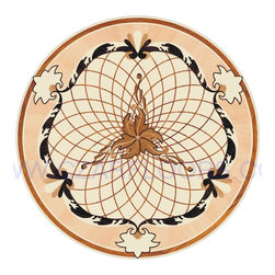 Wood Inlays Collection - Wood Floor Medallion Inlay is available in sizes 24 in, and up. All natural wood colors without any artificial paint.  Inlays can be installed into new or existing wood floors. Wood medallions are compatible with most floors except laminate. Medallions are available unfinished or prefinished with commercial grade polyurethane finish.
