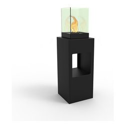 Decorpro - Vertikal Bio Ethanol Fireburner Stand and Display Unit In Black Textured - Vertikal is the ultimate party Fireburner / Firepot. Make a statement and create a night to remember when you throw a party. Use the lower cubby hole for small pieces of art or store bottles of wine. Available in seven colours.