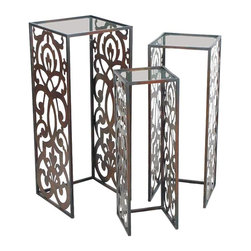 Sterling Lighting - 3-Pc Swanson Stand Set - Includes small, medium and large stand. Made from metal and glass. Small: 8 in. L x 8 in. W x 24.5 in. H (8 lbs.). Medium: 10 in. L x 10 in. W x 27.5 in. H (10 lbs.). Large: 12 in. L x 12 in. W x 29.75 in. H (12 lbs.)