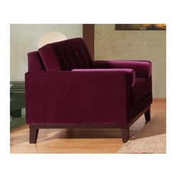 Armen Living - Centennial Purple Button-Back Upholstered Occasional Chair - Transitional design. Button back. Sleek low back look. Velvet upholstery. 41.5 in. W x 36 in. D x 34 in. H (66 lbs.)