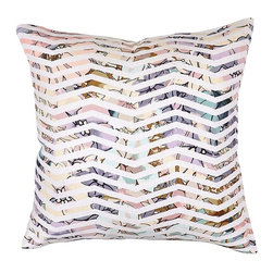 """Villa Home - Pair of Fauna Mint Multi Pillows by Villa Home - Like looking through a zig-zag slatted shutter out into a spring garden, pastel shades of pink, lavender and mint peek through. Invigorate a dark space with a breath of the outdoors. (VH) 22"""" square. 100% cotton feather down insert. Sold in pairs"""