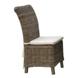 Jeffan International - Samurai Rattan Indoor-Outdoor Dining Chair w Cushion - 2 Pc Set - This two piece chair set is durable enough for outdoor use while still being stylishly suitable for your indoor dining room. Features a woven rattan construction and padded seat for maximum comfort and support. The high back design makes it perfect for long meals and conversation. Outdoor use. Cotton duct treated cover fabric. Natural color. Made in Indonesia. No assembly required. 19 in. L x 24 in. W x 41 in. H (37 lbs.)Made of natural rattan that has been processed naturally it has been dipped in hot mud for about 2 weeks to give the driftwood color and also enhances its performance against outdoor elements. This piece is great to be used in covered areas.