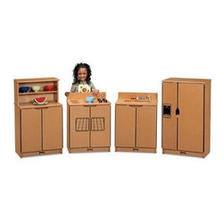 Jonti-Craft Sproutz Kitchen Playset - With the Jonti-Craft Sproutz Kitchen Playset your children will be excited to run their own kitchen and you'll be excited about helping preserve the environment. This four-piece kitchen playset is constructed from 100 percent recycled wood fiber. The refrigerator has dual doors for fridge and freezer and features an imaginary water and ice dispenser. The range has four play burners with separate knob controls timer and clock faces and an oven with side-by-side doors. The sink comes complete with a turnable faucet and a pull-out sprayer. The cupboard offers ample space for storing pretend food and dishes. Available in four edge-banding colors. Several features make this kitchen playset especially safe and durable. KYDZSafe edges ensure that all edges - front back and base - are fully rounded. KYDZHinged doors are held shut by magnetic catches. The KYDZStrong construction employs the dowel-pin technique which leaves the thickness of the material intact where most of the stress occurs. Recessed backs enhance both strength and appearance. The KYDZTuff finish resists stains won't yellow cleans easily and is as tough as the coating used on gym floors. Comes with a five-year manufacturer's warranty.
