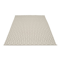 Pappelina - Pappelina Honey Plastic Rug, Light Grey, 6 X 8 1/2 - This  rug from Pappelina, Sweden, uses PVC-plastic and polyester-warp to give it ultimate durability and clean-ability. Great for decks, bathrooms, kitchens and kid's rooms. Turn the rug over and the colors will be reversed!