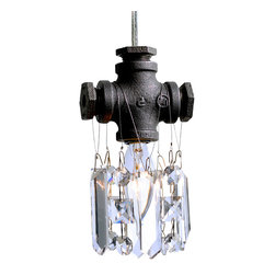 """Michael McHale Designs - Tribeca Collection Single-Bulb Pendant Chandelier - The McHale Designs Tribeca Single-Bulb Pendant  is a quality jewel of artistic modern industrial-chic lighting. This contemporary steampunk pendant is irresistible. Measuring 3.5""""w x 6.5"""" l (when fully adorned with its top-quality crystals), it can be hung from any perch and can be hung in groups at different elevations."""