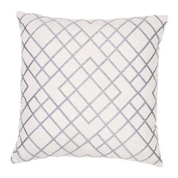 Jaipur Rugs - Handmade Cotton Gray/Ivory/White Pillow - Modena is a cotton based pillow embroidered with geometric designs.  Add to a  bed or side chair for a great accent.