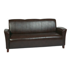 Office Star - OSP Furniture Lounge Seating SL2273EC9 Mocha Eco Leather Sofa w/ Cherry Finish L - Mocha Eco Leather Sofa with Cherry Finish Legs. Rated for 675 lbs of distributed weight. Shipped Semi K/D.