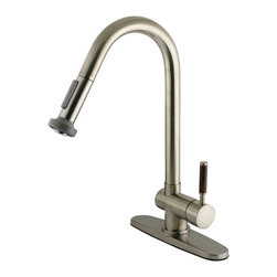 Kingston Brass - Wilshire Single Handle Pull-Down Spray Kitchen Faucet, Satin Nickel - The Wilshire pull-down faucet features a thick gooseneck-shaped spout which hangs over the sink built for easy washing. The satin-nickel finish adds long-lasting protection as well as a sleek flashy-looking decor for your kitchen.