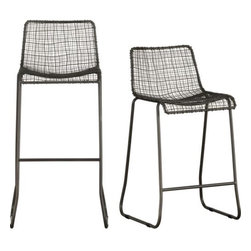 """reed barstools - high wire act. Antiqued zinc plated iron wires warp and weft, wrap and weld surprisingly comfortable contours. Handwoven to graphic extreme with exposed handwelding at each crosspoint and edge wrap. 30"""" or 24"""" barstools sit squarely on sleigh legs with footrest bar.- Antiqued zinc plated iron wire is handwoven- Exposed handwelding detail- Protective glides included- 24""""H seat sized for counters; 30""""H seat sized for bars- Each is unique- Made in India- See dimensions below"""