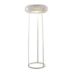 LexMod - Caboche Style Acrylic Crystal Floor Lamp - The circle of revolution displayed by the Caboche Series introduces spontaneous brilliance that reflects powerfully throughout any room. Adorning its bearer, the glass globe is a crown of experiential motion.