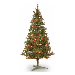 6 Ft. Canadian Grande Fir Wrapped Christmas Tree w/ 200 Multi Lights - Measures 6 feet tall with 36 inch diameter. Pre-lit with 200 UL listed, pre-strung multicolor lights. Tip count: 550. All metal hinged construction (branches are attached to center pole sections) Comes in two sections for quick and easy set-up. Includes tree stand. Light string features BULB-LOCK to keep bulbs from falling out. If one bulb burns out, others remain lit. Fire-resistant and non-allergenic. Includes spare bulbs and fuses. 5-year tree warranty / 2-year lights warranty. Packed in reusable storage carton. Assembly instructions included.