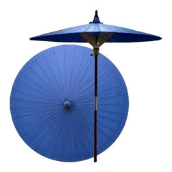 Oriental Unlimted - 7 ft. Tall Berry Patio Umbrella (None) - Choose Base: NoneHandcrafted and hand-painted by master artisans. 100% Waterproof and extremely durable. Umbrella shade can be set at 2 different heights, 1 for maximum shade coverage and the other for a better view of the shade. An optional base, which secures the umbrella rod and shade against strong winds and rain. Patio umbrella rod and base is constructed of stained oak hardwood for a rich look and durable design. Umbrella shade is made of oil-treated cotton. Minimal assembly required. Canopy: 76 in. D x 84 in. HBlue is symbolic of self-cultivation and wealth in Oriental culture. Enrich your life and any outdoor setting with this prosperous Blue patio umbrella.