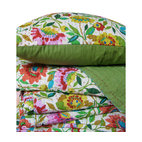 Kim Parker Inc. - Anil's Garden Kantha Quilt - Bedeck your bed with this hand-stitched, 100 percent cotton work of art. Crafted in India using traditional techniques, it'll transform your comfort zone into a colorful dream come true.