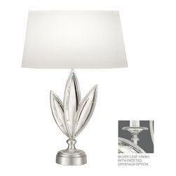 Fine Art Lamps - Fine Art Lamps 850010-12 Marquise Silver Faceted Crystal Table Lamp - Fine Art Lamps 850010-12 Marquise Silver Leaf Table Lamp