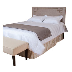 Great Deal Furniture - Levant Queen Light Brown Fabric Headboard - The Levant headboard is a great piece to add elegance to your bedroom. You can spruce up the look of any queen metal frame bed with this headboard.