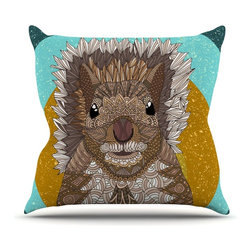 """KESS InHouse - Art Love Passion """"Squirrel"""" Teal Brown Throw Pillow, Outdoor, 26""""x26"""" - Decorate your backyard, patio or even take it on a picnic with the Kess Inhouse outdoor throw pillow! Complete your backyard by adding unique artwork, patterns, illustrations and colors! Be the envy of your neighbors and friends with this long lasting outdoor artistic and innovative pillow. These pillows are printed on both sides for added pizzazz!"""