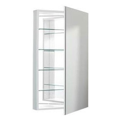 Robern - Robern PLM2040WBRE PL Series Flat Beveled Mirrored Door, White - Robern PLM2040WBRE PL Series Flat Beveled Mirrored Door, White