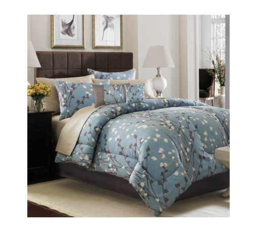 Keeco, Llc - Risa Complete Bed Ensemble - Risa is complete bed ensemble featuring a modern vertical floral on a slate blue ground. The sheets are an all-over organic dot on a light taupe ground, and the bed skirt and comforter reverse are a darker taupe.