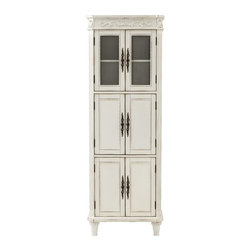 Home Decorators Collection - Chelsea 6-Door Linen Cabinet - The topmost doors of our Chelsea 6-Door Linen Cabinet boast large windows that allow you to display towels, bath soaps, sponges and other appealing accessories. Lower cabinets offer plenty of additional storage. Two glass doors and four solid doors. Your choice of finish. Antique brass hardware. Adjustable leg levelers.