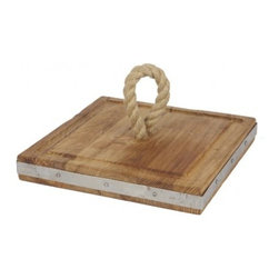 "Europe2You - Square Wooden Rope Cheese Board - Spending time with family at home is just one of the many treasures that life has to offer. Treat your family with a gift that can be enjoyed for many years to come. Whether serving as an eye catching centerpiece for pastries and fruits, or laden with after dinner treats, this serving board made of reclaimed wood welcomes guests with warmth. Accented with a hemp rope at its center and a strip of galvanized steel at its edge, each serving board complements any decor with its casual elegance.   * Dimensions: W: 14"" H: 2"" D: 14"""