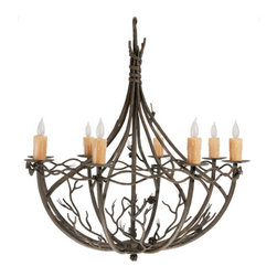 Pine 8-Arm Chandelier - Shipping is included in the price! This beautiful hand-hammered chandelier is from the rustically styled Pine collection by Stone County Ironworks. Naturalistic texturing of the bark and twigs, delicate needles, and realistic pine cones come together to create a perfect reflection of nature at its best. Specific to the Pine collection in their rustic series of products are the standard finish options of Rustic Bark or Natural Black. Blacksmiths at Stone County Ironworks produce each product by hand, here in the USA, so each finished item is always a unique piece. Hand made and finished to order, some customization is available for an up-charge in price.