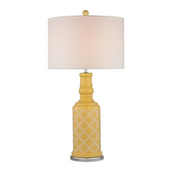 Joshua Marshal - One Light White Linen Shade Sunshine Yellow With White Pattern And Pol - One Light White Linen Shade Sunshine Yellow With White Pattern And Pol
