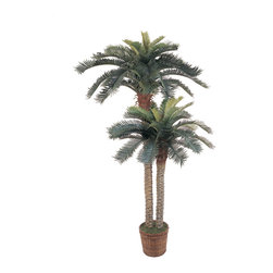 """Nearly Natural - 6' & 4' Sago Palm Double Potted Silk Tree - This double potted silk Sago Palm tree is simply paradise!  It features two beautiful stalks of Sago Palms; one 4'and one 6'. This tree boasts 80 green leaves and is set in a 10"""" brown basket.  The trunks themselves are browning in spots and feature the texture of a real palm. This breath taking tree is the perfect accent piece to any home decor."""