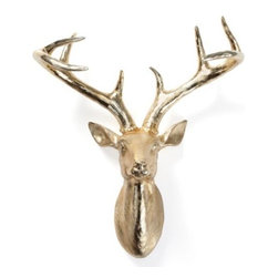 "Z Gallerie - Deer Head - 17.75""H - Z Gallerie's exclusive Gold Deer Head brings the taxidermy tradition into the twenty-first century. Crafted of glossy gold electroplated resin, the stately Deer Head is a bright contrasting accessory for your wall.  Combine with our Ram and Moose heads for a meeting of the minds."