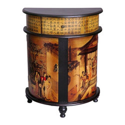 Oriental Furniture - Family Gathering Round Front Cabinet - Crafted in a classic Asian style half round design, a beautifully decorated oriental accent cabinet. Finished with durable, beautiful Chinese lacquer on the top and legs, decorated with Chinese calligraphy decoupage applique on the upper drawer section, and cabinet doors. Lots of usable storage space, well sized for a unique end table, nightstand, or decorative chest.