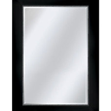 Shop allen + roth 31-in x 43-in Black and Silver Rectangular Framed Mirror at Lo