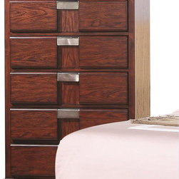 Coaster - Coaster Hyland Five Drawer Chest - Coaster - Chests - 202245 - Add ample storage space to your home decor with this attractive chest of drawers. The piece carries a beautiful dark cherry finish and features sleek lines as well as brushed metal drawer handles for a beautiful contrasting look. In addition the five drawers are wonderful for keeping sweaters jeans blankets bedsheets and towels. Simple yet stunning this drawer chest is sure to please.