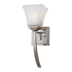 DHI-Corp - Torino 1-Light Extended Wall Sconce, Satin Nickel - The Design House 514786 Torino 1-Light Wall Sconce is made of formed steel, snow glass and finished in satin nickel. This 1-light wall mount is rated for 120-volts and uses (1) 60-watt medium base incandescent bulb. This sconce's petite design mounts seamlessly to the wall without a chain or visible wires. Measuring 15-inches (H) by 5.1-inches (W), this 2.4-pound fixture can be mounted facing up or down depending on location and preference. Squared details accentuate the snow glass to create a sleek centerpiece in a hallway, entry way or bathroom. This product is UL and CUL listed and approved for damp areas. The Torino collection features a beautiful matching vanity light, chandelier and mini pendant. The Design House 514786 Torino 1-Light Wall Sconce comes with a 10-year limited warranty that protects against defects in materials and workmanship. Design House offers products in multiple home decor categories including lighting, ceiling fans, hardware and plumbing products. With years of hands-on experience, Design House understands every aspect of the home decor industry, and devotes itself to providing quality products across the home decor spectrum. Providing value to their customers, Design House uses industry leading merchandising solutions and innovative programs. Design House is committed to providing high quality products for your home improvement projects.