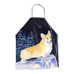 Caroline's Treasures - Starry Night Corgi Apron SS8353APRON - Apron, Bib Style, 27 in H x 31 in W; 100 percent  Ultra Spun Poly, White, braided nylon tie straps, sewn cloth neckband. These bib style aprons are not just for cooking - they are also great for cleaning, gardening, art projects, and other activities, too!