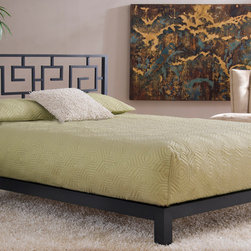 None - Greek Key Black Headboard and Aura Black Platform Bed - Add stylish Greek design to any bedroom in your home with this stunning Greek Key headboard and platform bed set. Finished in a bold, matte black color, this solid metal bed features a geometric pattern and wood slats for support.